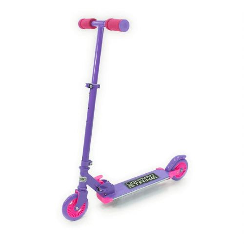 Ozbozz Girls Kids Purple Pink Lightning Strike Folding 2 Wheel LED Scooter